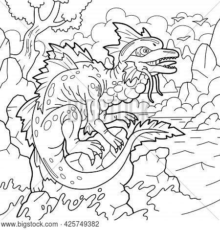 Mythological Sea Dragon, Coloring Page, Outline Illustration