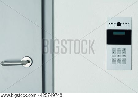 Intercom With Video Communication In The Wall For Opening The Door To The Hall, Close-up