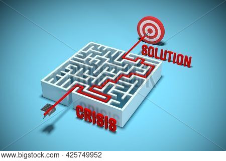 Every Crisis Has Solution Concept. Hard Way From Crisis To Solution - Concept With Labyrinth And Tar