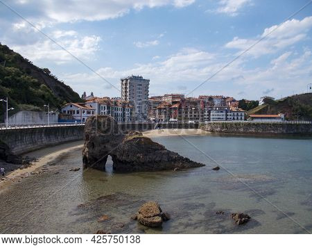 Costa De Candás On A Day With Blue Skies And Some Clouds In The Principality Of Asturias, Spain. Hor