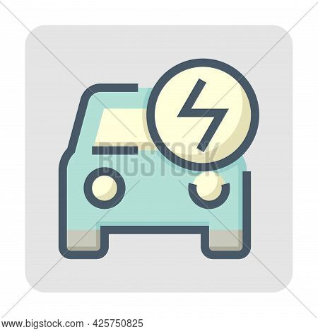 Electric Vehicle (ev) Vector Icon. Consist Of Front Car, Electrical Sign. That Charge, Recharge And