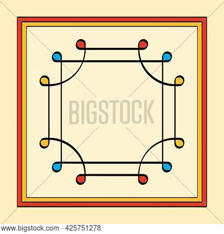Colored Thai Yantra, Overlapping Squares With Looped Corners, Also Ring Of Solomon. Ancient Symbol,