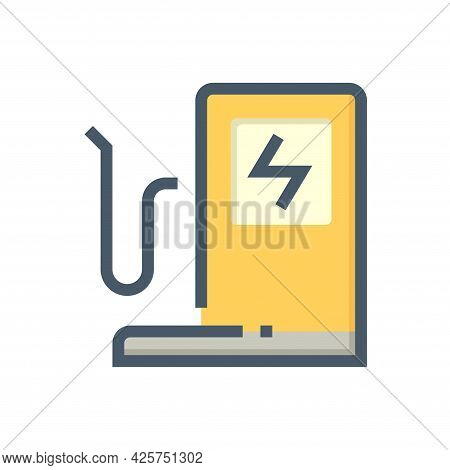 Electric Car Or Vehicle Charging Point Vector Icon. Consist Of Cable, Plug Or Connector, Parking Flo