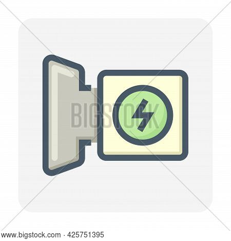 Charging Connector Vector Icon. Also Called Cable Mount Or Vehicle Inlet For Electric Vehicle (ev) F