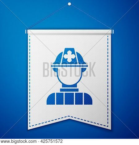 Blue Firefighter Icon Isolated On Blue Background. White Pennant Template. Vector