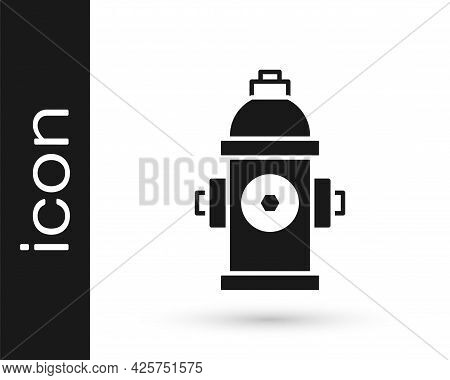 Black Fire Hydrant Icon Isolated On White Background. Vector