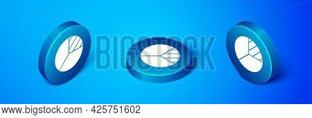 Isometric Pie Chart Infographic Icon Isolated On Blue Background. Diagram Chart Sign. Blue Circle Bu