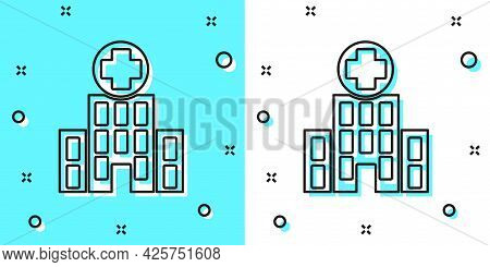 Black Line Medical Hospital Building With Cross Icon Isolated On Green And White Background. Medical