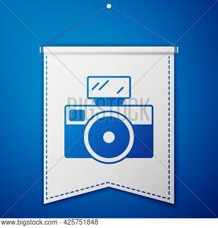 Blue Photo Camera With Lighting Flash Icon Isolated On Blue Background. Foto Camera. Digital Photogr