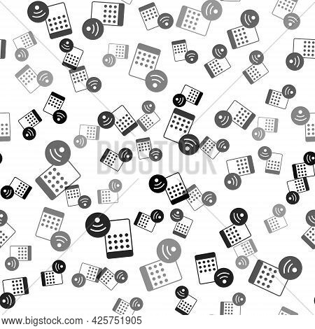 Black Air Humidifier Icon Isolated Seamless Pattern On White Background. Portable Electric Home Appl