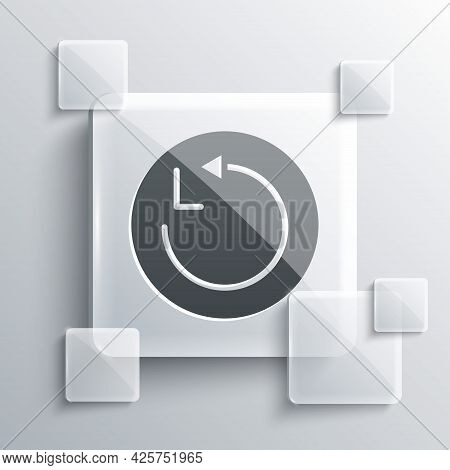 Grey Radius Icon Isolated On Grey Background. Square Glass Panels. Vector
