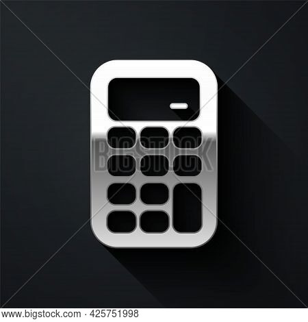 Silver Calculator Icon Isolated On Black Background. Accounting Symbol. Business Calculations Mathem