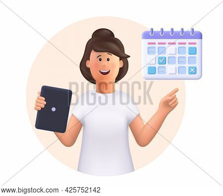 Young Woman Jane Holding Tablet, Showing Plan Schedule, Planning Day Scheduling Appointment In Calen