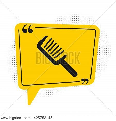Black Hairbrush Icon Isolated On White Background. Comb Hair Sign. Barber Symbol. Yellow Speech Bubb