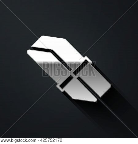 Silver Eraser Or Rubber Icon Isolated On Black Background. Long Shadow Style. Vector