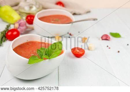 Gazpacho Is A Cold Tomato Soup. Perfectly Quenches Thirst In The Summer Heat. A Cool, Refreshing Sou