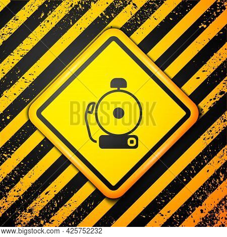 Black Ringing Alarm Bell Icon Isolated On Yellow Background. Alarm Symbol, Service Bell, Handbell Si