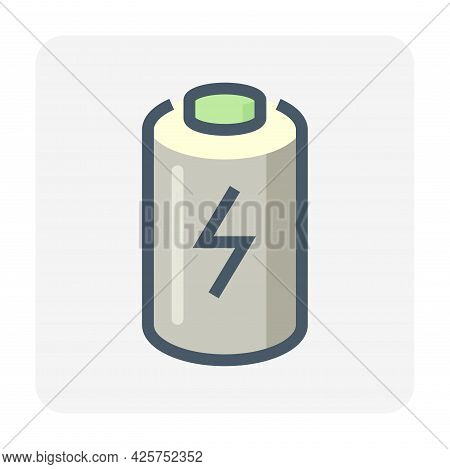 Cell Of Rechargeable Battery Vector Icon. That Lithium-ion Component For Production In Pack, Module