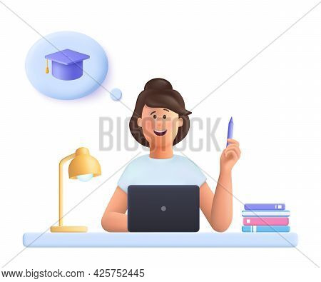 Young Woman Jane Sitting At Desk In Front Laptop, Holding Pencil, Doing Assignment, Thinking Graduat