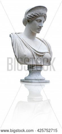Marble Antique Bust Of The Ancient Greek Home Goddess Hera Isolated On White Background. Design Elem