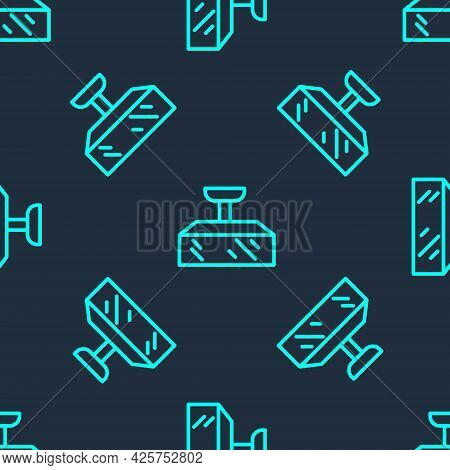 Green Line Studio Light Bulb In Softbox Icon Isolated Seamless Pattern On Blue Background. Shadow Re