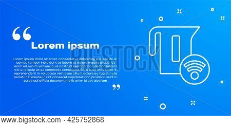 White Line Smart Electric Kettle System Icon Isolated On Blue Background. Teapot Icon. Internet Of T