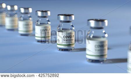 Coronavirus Vaccine. Covid-19 Corona Virus Vaccination With Vaccine Bottle And Syringe Injection Too