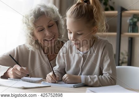 Friendly Old Female Private Tutor Interact With Preteen Girl Pupil
