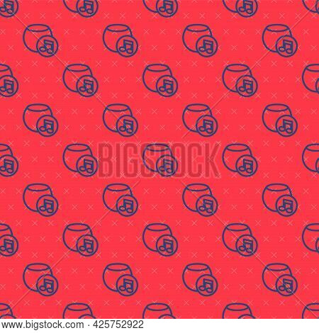 Blue Line Voice Assistant Icon Isolated Seamless Pattern On Red Background. Voice Control User Inter