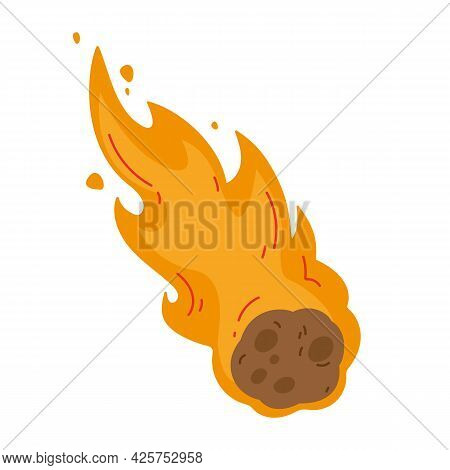 Flame Meteorite. Colored Fiery Meteorite Flying. Meteor Rain Fall On Planet In Cartoon Style. Catacl