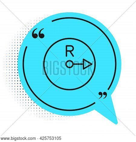 Black Line Radius Icon Isolated On White Background. Blue Speech Bubble Symbol. Vector
