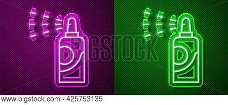 Glowing Neon Line Spray Can For Hairspray, Deodorant, Antiperspirant Icon Isolated On Purple And Gre