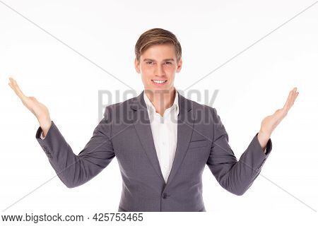 Happy Young Business Man Holding Copy Space Imaginary On Palm For Insert Advertisement, Happiness An