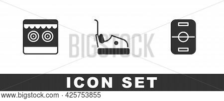 Set Shooting Gallery, Bumper Car And Hockey Table Icon. Vector