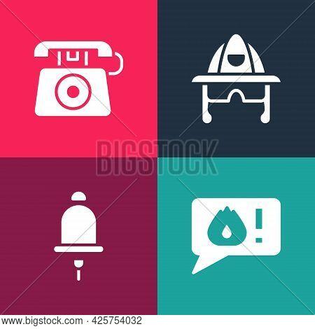 Set Pop Art Telephone Call 911, Ringing Alarm Bell, Firefighter Helmet And Icon. Vector