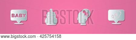 Set Paper Cut Baby, Bottle, Dummy Pacifier And Icon. Paper Art Style. Vector