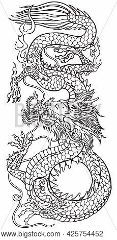 East Asia Dragon. Traditional Chinese Or Japanese Mythological Creature. Black And White Tattoo Styl