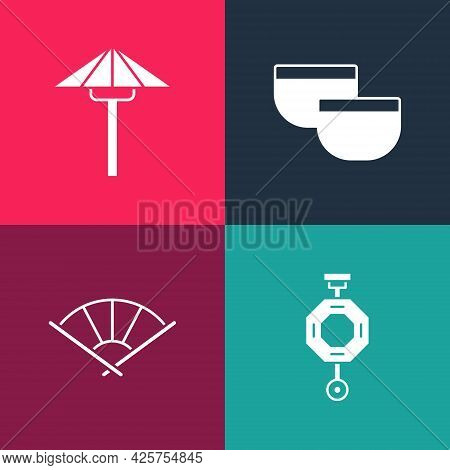 Set Pop Art Chinese Paper Lantern, Or Japanese Folding Fan, Tea Ceremony And Japanese Umbrella From