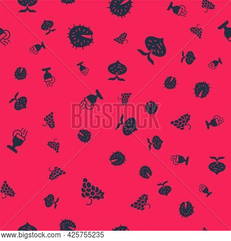 Set Grape Fruit, Chestnut, Mulled Wine And Beet On Seamless Pattern. Vector