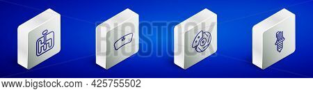 Set Isometric Line Gear Shifter, Windshield, Car Brake Disk With Caliper And Spark Plug Icon. Vector