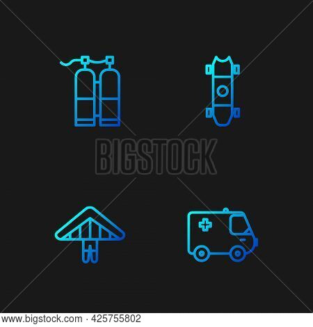Set Line Ambulance And Emergency Car, Hang Glider, Aqualung And Longboard Or Skateboard. Gradient Co