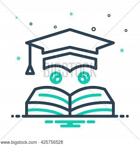 Mix Icon For Education Learning Teaching Degree Graduate Cap Bachelor