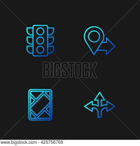 Set Line Road Traffic Sign, Gps Device With Map, Traffic Light And Location. Gradient Color Icons. V