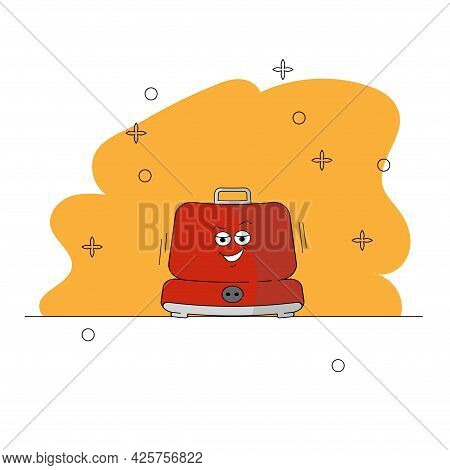 Electric Waffle Maker In Cartoon Style. Emotional Character Of Kitchen Appliances. Red Appliance On