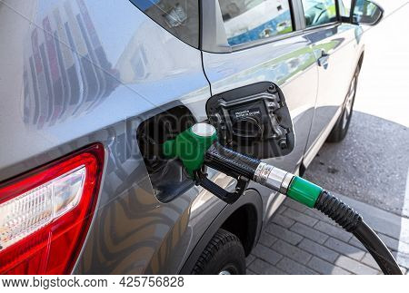 Samara, Russia - July 4, 2021: Fuel Nozzle To Release Fuel Into Passenger Car At The Gas Station