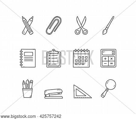 12 Stationery Icons - Hand Drawn Doodle Style, Office Supplies Icons, Vector Eps10 Illustration