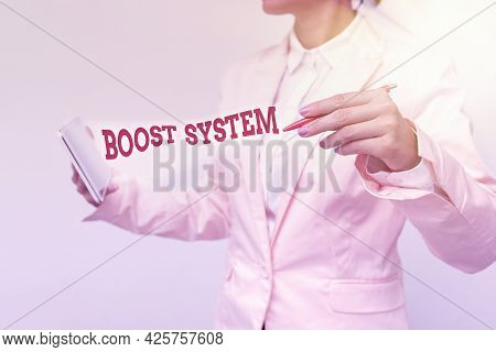 Handwriting Text Boost System. Business Overview Rejuvenate Upgrade Strengthen Be Healthier Holistic