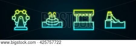 Set Line Ferris Wheel, Fountain, Ticket Box Office And Water Slide. Glowing Neon Icon. Vector