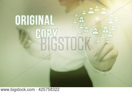 Text Showing Inspiration Original Copy. Word Written On Main Script Unprinted Branded Patented Maste