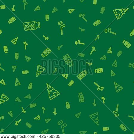 Set Line Pickled Cucumbers In A Jar, The Tsar Bell And Ice Hockey Stick And Puck On Seamless Pattern